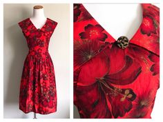 de69776c18f Vintage 1950 s 60 s Red Hawaiian Dress Tropical Floral Hibiscus Flower Full  Skirt Handmade Dress Cotton Summer Luau Party Dress Size Small