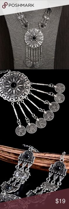 Silver Boho Gypsy Coin Turkish Necklace! Excellent quality Turkish Tribal silver coin necklace.  Gorgeous boho statement necklace! Jewelry Necklaces