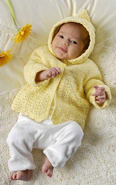Babys søde forårsjakke er hæklet i det blødeste uldgarn
