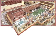 Roman Villa: with an atrium near the entrance with a compluvium and impluvium to collect and filter rain water,a tablinum (home office) for receiving guests, and a peristyle courtyard for otium (leisure time)