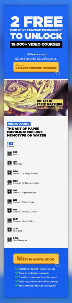 The Art of Paper Marbling: Explore Monotype on Water Illustration, Watercolors, Pattern Design, Drawing, Painting, Fine Art, Graphic Design, Creative, Print Design #onlinecourses #onlinecoursesentrepreneur #onlinedegreepopular    In this class, I'll show you a magical technique called Paper Marbling. We'll create 6different artworks starting with the easiest method and continue with the traditio...