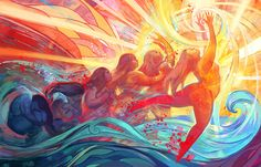 """juliedillonart: """" """"Unfurled"""" Julie Dillon www.juliedillonart.com For Month of Love's Week 4 challenge, """"Metamorphoses"""" """"Can't you see where memories are kept bright? Tripping on the water like a laughing girl Time in her eyes is spawning past..."""