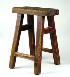 old wood stool | Antique Wood Stool Rustic Seat Side Stand Bench Chair O Auctions - Buy ...