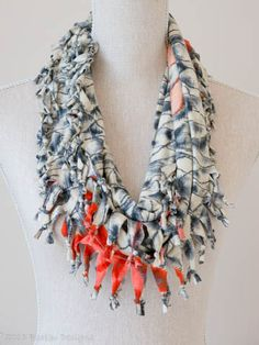 Grey & Coral Short Knotted Cowl