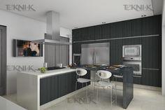 La cocina presenta una combinación sobria entre colores y texturas, manejando Foil gris en los gabinetes y contrastando con cuarzo de dos colores, Blanco en la isla con parrilla y el Negro para la barra desayunador.