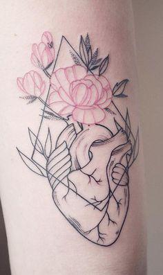 Linework Herz Tattoo Designs – Famous Last Words Feather Tattoos, Rose Tattoos, Flower Tattoos, Body Art Tattoos, Sleeve Tattoos, Tattoo Arm, Female Leg Tattoos, Amor Tattoo, Tatoos