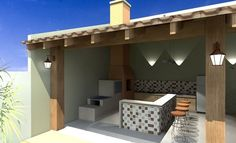 parrilleros en esquina Barbecue Area, Bbq, House Plans, Pergola, Sweet Home, Backyard, Outdoor Structures, Outdoor Decor, Furniture