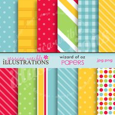 Wizard of Oz Cute Digital Papers for Card Design, Scrapbooking, and Web Design. $5.00, via Etsy.