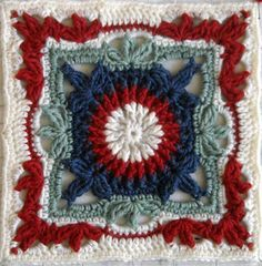 """Picture Frame - Free 12""""crochet square pattern by Lisa Naskrent. One of the patterns in this free e-book (free registration required) from CrochetMe:http://www.crochetme.com/content/ChainReaction.aspx ༺✿Teresa Restegui http://www.pinterest.com/teretegui/✿༻"""