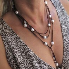Leather and Pearl Lariat - Talisman Jewellery Online, Affordable Luxuries