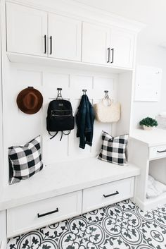 black and white mudroom farmhouse