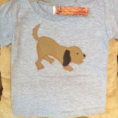 Size 2T Puppy tshirt. Handstitched by UpTheLittleMountain on Etsy, $20.00