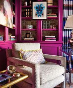 Magenta bookcase.