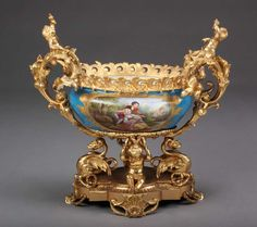 French Sevres Porcelain Gilt Bronze Mounted Centerpiece 2