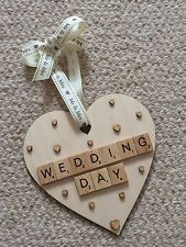 Wedding Day Heart Plaque Scrabble Style