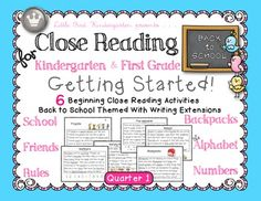 Reading for Kindergarten & First Grade: Back to School Quarter Set of 6 Close Reading for Kindergarten & First Grade: Getting Started Quarter 1 BundleClose Reading for Kindergarten & First Grade: Getting Started Quarter 1 Bundle Cloze Reading, Reading Passages, Guided Reading, Close Reading Strategies, Reading Skills, Reading Lessons, Writing Lessons, Kindergarten Reading, Reading Activities