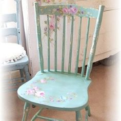 Shabby Chic Chair, diy paint and decoupage (YES! I'm going to make these for my kitchen chairs! Find some at garage sales and paint them and stencil them!) - JK
