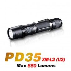 The Fenix PD35 has a compact size and powerful output. Weighing in at only 87 grams and with a length of less that 14cm's it delivers an impressive 850 lumen maximum output from its Cree XM-L2 (U2) LED using only one 18650 battery.