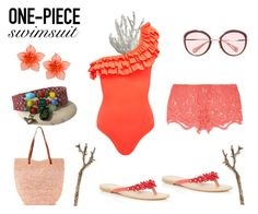 """Aloha!"" by mahafromkailash ❤ liked on Polyvore featuring Miguelina, Oasis, Dsquared2, Pluie, Miu Miu and onepieceswimsuit"