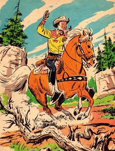 the vintage cowboy ~ print and put in cute frame, easy decor! Cowgirl And Horse, Cowboy Art, Western Comics, Western Art, Western Crafts, Vintage Posters, Vintage Art, Vintage Stuff, Vintage Prints