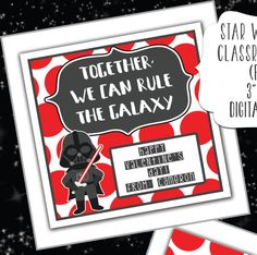 STAR WARS Printable Valentine Cards - Together we can rule the galaxy, you are out of this world, may the force be with you, YODA, R2D2 by KCKCreativeMarket on Etsy