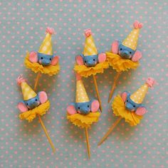 Blue Elephants/Circus Theme Toppers by PartyPopPop on Etsy