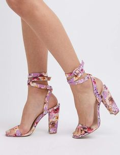 d40d0eb6f3b84b Charlotte Russe Floral Ankle Wrap Sandals