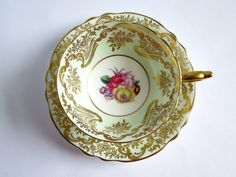Paragon Teacup and Saucer Mint Green and Gold by SwirlingOrange11