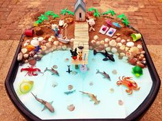 A Day at the Seaside, small world tuff tray.