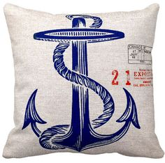 Nautical Anchor Pillow Cover Marine Beach Decor Cotton and Burlap Pillow