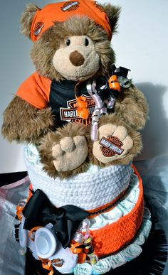 Harley Davidson Bear Diaper Cake I hope when I have kids someone makes me one of these!
