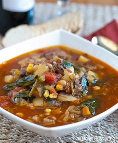 A Hearty Beef Vegetable Soup recipe - http://www.afamilyfeast.com - part of our Beef Soup Series at A Family Feast