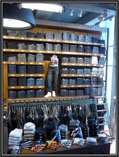 Great merchandising idea for jeans | For the Guys | Pinterest ...