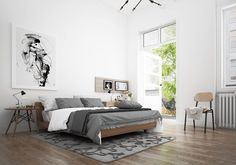 Scandinavian-style home interior decoration is currently being used a lot lately. Using a clean and white concept, Scandinavian style is widely used for simple Small Room Bedroom, Home Decor Bedroom, Bedroom Furniture, Master Bedroom, Bedroom Ideas, Bedroom Designs, Bed Room, Nursery Room, Master Suite