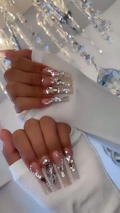 Nail Designs Bling, Nails Design With Rhinestones, Cute Acrylic Nail Designs, Rhinestone Nails, Bling Nails, Swag Nails, Gems On Nails, Sparkly Nails, Silver Nails