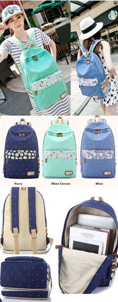 which color do you like? Polka Dot Fresh Canvas College Student Backpack #dot #fresh #school #backpack #bag #cute #college #student #rucksack #travel