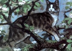 C F Tunnicliffe - Cat In An Apple Blossom Tree