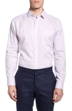 Men's Nordstrom Men's Shop Smartcare Trim Fit Plaid Dress Shirt, Size 15.5 - 34/35 - Purple