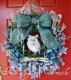 XL Rustic Woodland Owl Smokey Blue Winter Christmas Wreath, by IrishGirlsWreaths.  //  ♡ THIS ONE IS BEAUTIFUL FOR AFTER THE HOLIDAYS....FOR THE REST OF THE WINTER HERE IN NEW ENGLAND. (It's always so sad to take down all of the ornamentation of the holidays. Now I wouldn't have to!)  ♥A