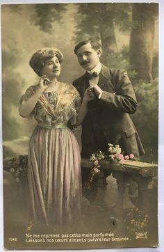 Zuiverste hart * Frans liefde * romantische foto van koppel in park * Set van 2 kaarten klaar naar frame * antiek uit Frankrijk