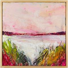 """Ellen Levine Dodd - """" East Harbor"""" - oil and cold wax on wood panel - 12"""" x 12"""" - available on Serena & Lily (serenaandlily.com)"""