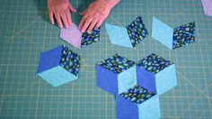 Easy Tumbling Blocks - Learn how to mark and sew tumbling blocks