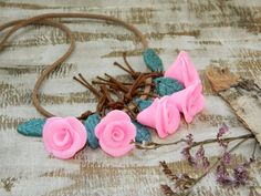 Clay rose necklace-Rose jewelry-girlfriend by YarinkaHobbie
