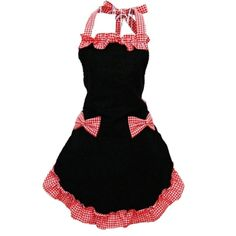 Leegoal Retro Lady's Kitchen Restaurant Flirty Apron Waitress Cute Sweety Cotton Grid Pattern Double Color Working Chefs Kitchen Cooking Cook Apron Dress with Bowknots Pockets Design Great Chrismas Gift Wife Daughters Ladies (Black and Red) Flirty Aprons, Cute Aprons, Bib Apron, Apron Dress, Great Gifts For Wife, Personalized Aprons, Black White, Color Black, Apron Pockets
