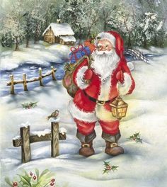Santa is fond of the warmly decorated interiors for the holidays! Christmas Artwork, Christmas Scenes, Father Christmas, Santa Christmas, Christmas Wallpaper, Christmas Pictures, Vintage Christmas, Santa And His Reindeer, Santa Clause