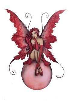 Elfe papillon rouge