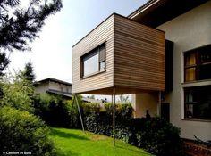 5 wood extension ideas for my home 5 Holzerweiterungsideen für mein Zuhause Architecture Renovation, Architecture Design, Exterior Design, Interior And Exterior, Roof Extension, Extension Ideas, Porch Addition, House Foundation, House Extensions
