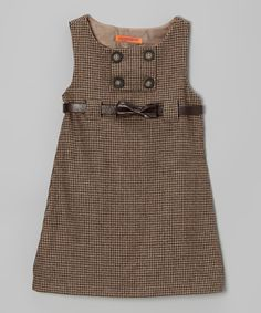 Brown Tweed Bow Belted Dress - Toddler & Girls