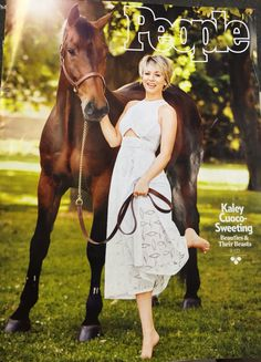 Kaley Cuoco on cover of People with her Westphalian WB