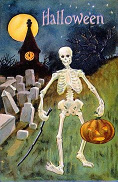 skeleton with jack-o-lantern.